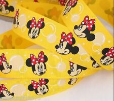 """Grosgrain Ribbon 1"""" Minnie Mouse Face on Yellow Printed for Hairbows USA Seller"""