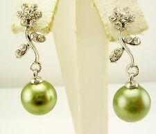 """Joan Rivers Faux Pearl & Crystal Flower  Earrings PIERCED  1 1/4"""" silvertone"""