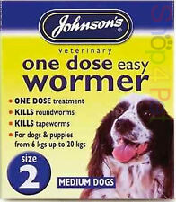 Johnsons DOG WORMER One Dose Treatment Easy Wormer  / Worming Tablets Size 2
