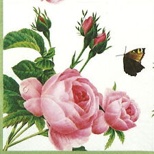 4x Single Table Party Paper Napkins for Decoupage Decopatch Butterfly on Rose