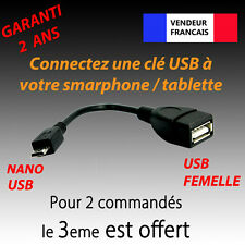 CABLE ADAPTATEUR USB FEMELLE ⇒ NANO USB MALE OTG TABLETTE SMARTPHONE HOST