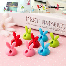 6pcs Rabbit Cable Drop Clip Desk Tidy Organiser Wire Lead USB Charger Holder