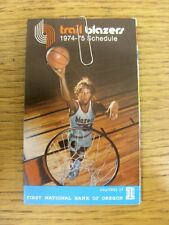 1974/1975 Fixture Card: Basketball - Portland Trail Blazers (fold out style). An