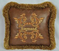 Personalized Embroidered Pillow made w Brown Faux Leather Fabric NEW trim fringe