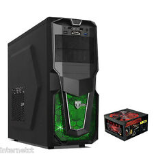 AvP STORM 28 BLACK ATX GAMING PC CASE - 650W 6-PIN PSU - USB 3 & GREEN LED FAN