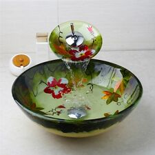 Victory Hand Paint Flower Washbasin Tempered Glass Sink With Brass Faucet