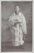 1910s RP POSTCARD YOUNG MAN DRESSED AS JAPANESE NATIVE W/HAND HELD FAN