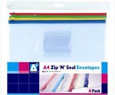 Anker A4 CHIUSURA ZIP E SIGILLO PLASTICA BUSTE cartelle, confezione da 4