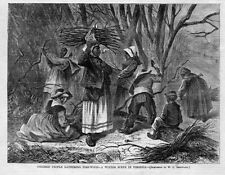 NEGROES, COLORED PEOPLE GATHERING FIREWOOD, WINTER SCENE IN VIRGINIA, HISTORY
