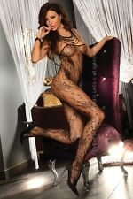 Sexy Netz-Catsuit Chrysanthe LivCo Corsetti S/L Schwarz Nylon, Hot Body stocking