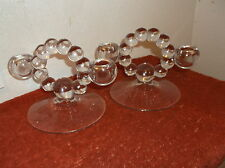 SET O 2 SOLID CLEAR GLASS PEDESTAL  CANDLE HOLDERS