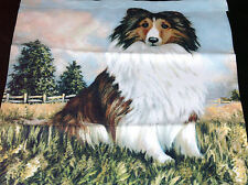 "Garden Flag Collie Dog Double Ply Flag 11"" X 15"" Country Field Scene"