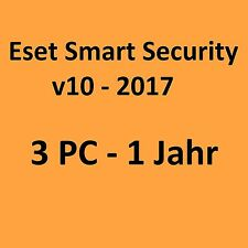 ESET Smart Security 10 2017 - 3PC 1 Jahr - NEU
