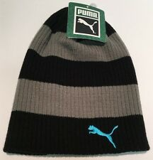 PUMA Youth Kid's Winter Hat Knit Beanie Black/Gray Striped Teal Logo One Size