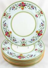 SET 8 DINNER PLATES WEDGWOOD BONE CHINA KILLARNEY W1685 GREEN YELLOW BLUE ENAMEL