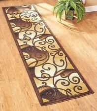 "Decorative 23"" x 120"" Tan Scroll Runner Rug Hallway Living Room Home Decor"
