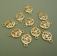 10pcs-Connector Pendant Charm 14K Gold Plated 19x12mm 2holes 3mm.