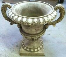 NEW HEAVY WHITE GARDEN FLOWERS CAST IRON URN