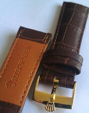 20mm genuine brown leather bracelet band with gold plated watch buckle fit rolex