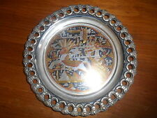 "Vintage Brass Tray Wall Hanging Egyptian Theme 8"" diameter Pierced Edge"