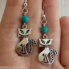 925 Sterling Silver hook Turquoise Stone Tibetan silver Cats Charm Earrings