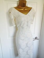 DAMSEL IN A DRESS CREAM SEA DAISY FLORAL LACE MIDI WIGGLE DRESS BNWT SZ 16 £179!