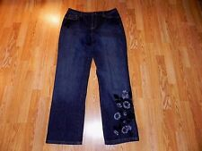 TALBOTS EMBROIDERED STRAIGHT STRETCH BLUE JEANS WOMEN'S SIZE 12 - SUPER!