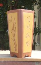"""Square Zisha Etched Bonsai Pot Cascade Dwarf Planter Orchid 3.75""""x7.75"""""""