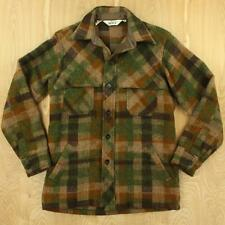 vtg usa made WOOLRICH wool blend flannel shirt jacket MEDIUM plaid mackinaw