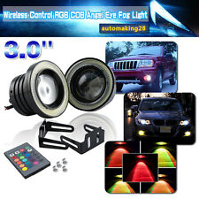 2x Multi-Color RGB 3''Inch Projector LED Fog Light w/ COB Halo Angel Eyes Rings