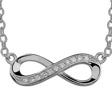 INFINITY ETERNITY w. CZ - Solid 925 Sterling silver necklace- w. Extension chain