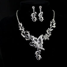 Graceful Silver Butterfly Leaf Pendant Necklace and Dangle Earring Jewelry Sets