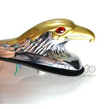 Chrome & Gold Eagle Head Ornament Statue For Motorcycle motorbike Front Fender
