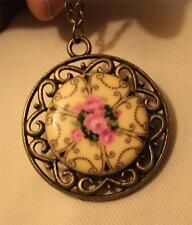 Open Swirled Rim Butter Yellow Pink Roses Porcelain Brasstone Pendant Necklace