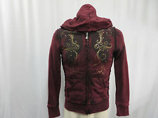 Sinful by Affliction Zippered Hoodie Sweatshirt Women's Medium M Cotton Red