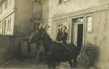 Side Saddle Sidesaddle Amazon Horse in Front of House (1910s) RPPC (1)