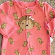 SWEET! NEW CARTER'S NEWBORN PINK MONKEY FOOTED SLEEP N PLAY OUTFIT REBORN
