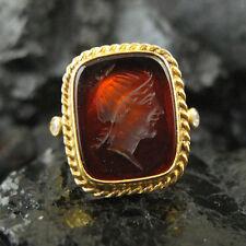 Hammered Handmade Intaglio Glass Ring 22K Gold over 925K Sterling Silver
