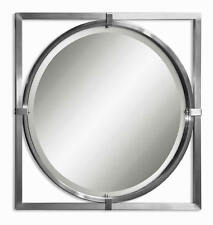 Kagami Brushed Nickel Square Metal Wall Mirror by Uttermost 01053B