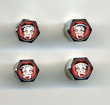 Betty Boop 4 Chrome Plated Brass Tire Valve Caps Car & Bike Featuring Betty Boop