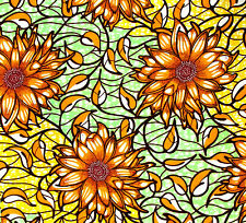 African Fabric 1/2 Yard Cotton Golden YELLOW GREEN BROWN Floral BTHY