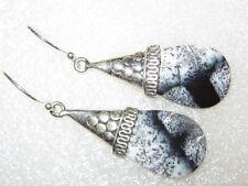RARITÄT Dendritenopal Merlinit Ohrringe Ohrhänger 925 Silber  *50x15x3mm*