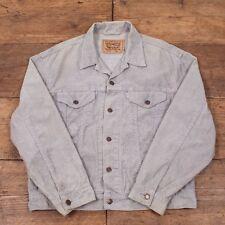"Vintage Levis White Tab Corduroy Trucker Jacket Grey Mens L 46"" R2902"
