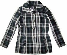 Women's Oakley Coaster Pea Jacket Coat Wool Peacoat Black Grey Plaid Size S