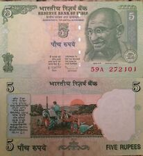 INDIA 2010 5 RUPEES UNC BANKNOTE MAHATMA GANDHI P-94 BUY FROM A USA SELLER !!!!