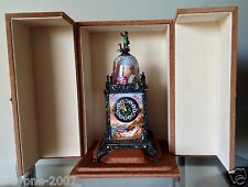 ANTIQUE MUSEUM SILVER & ENAMEL, TABLE CLOCK G.A.HUGUENIN 1880 YEAR!