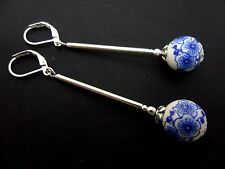 A PAIR LONG DANGLY BLUE/WHITE PORCELAIN FLOWER BEAD LEVERBACK HOOK EARRINGS. NEW