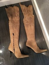 Roberto Cavalli Beige Suede Crystal Embellish Thigh High Over Knee Boots 38 7.5M