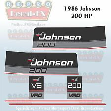 1986 Johnson 200 HP V6 Sea-Horse Outboard Reproduction 6 Pc Marine Vinyl Decals