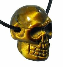 Gold Tiger Eye Skull Pendant Necklace Natural Chakra Reiki Healing Stone
